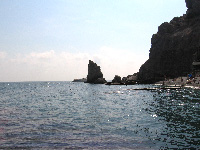 скала «Парус» с пляжа санатория «Парус»