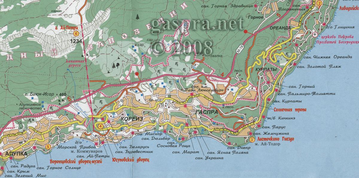 карта гаспры, мисхора и кореиза